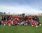 More than 80 Petersen students had a morning workout with UNLV men's and women's soccer squads as a reward for being responsible students and Rebel readers.